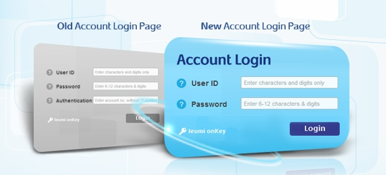 Accessing your account via the website will be as follows: